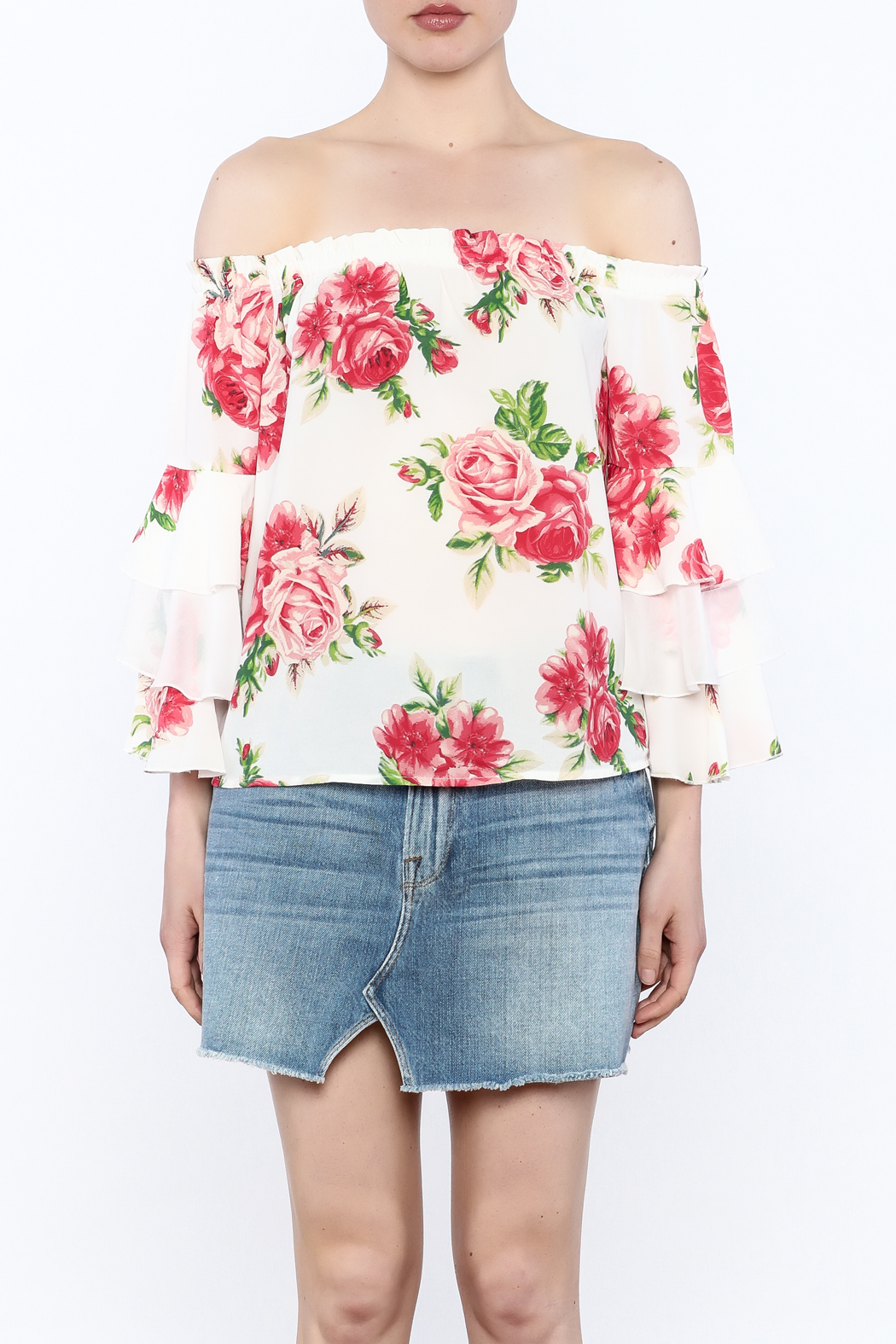 A. Calin Floral Off Shoulder Top - Front Full Image