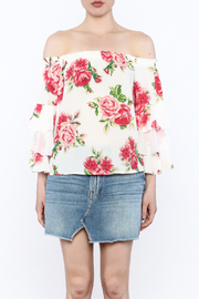 A. Calin Floral Off Shoulder Top - Front full body