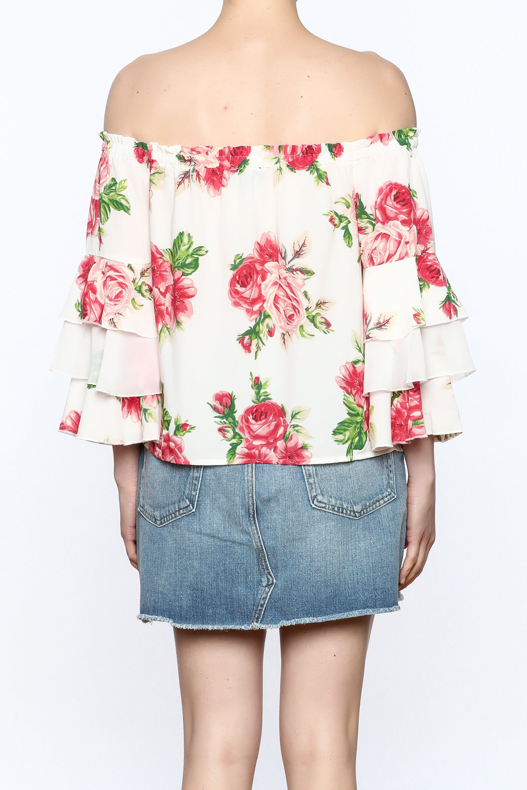 A. Calin Floral Off Shoulder Top - Back Cropped Image