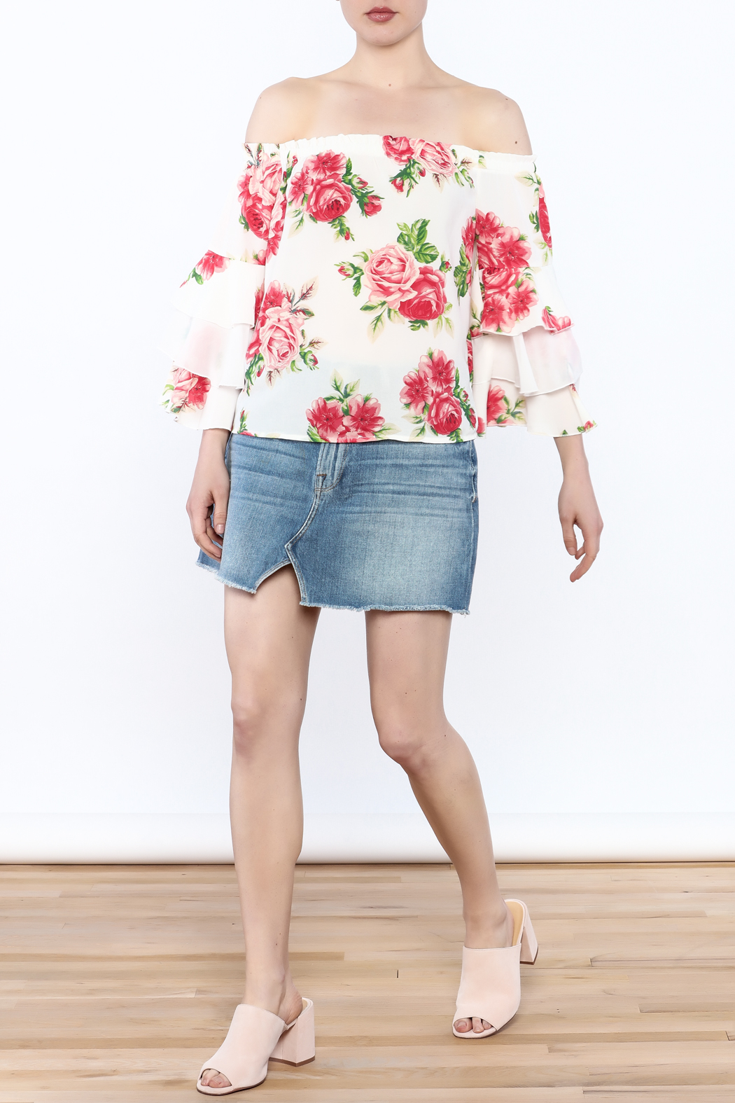 A. Calin Floral Off Shoulder Top - Side Cropped Image