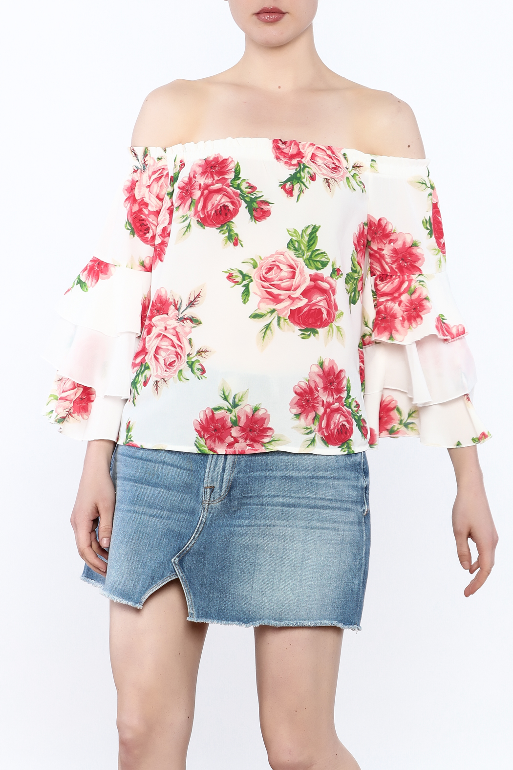 A. Calin Floral Off Shoulder Top - Front Cropped Image