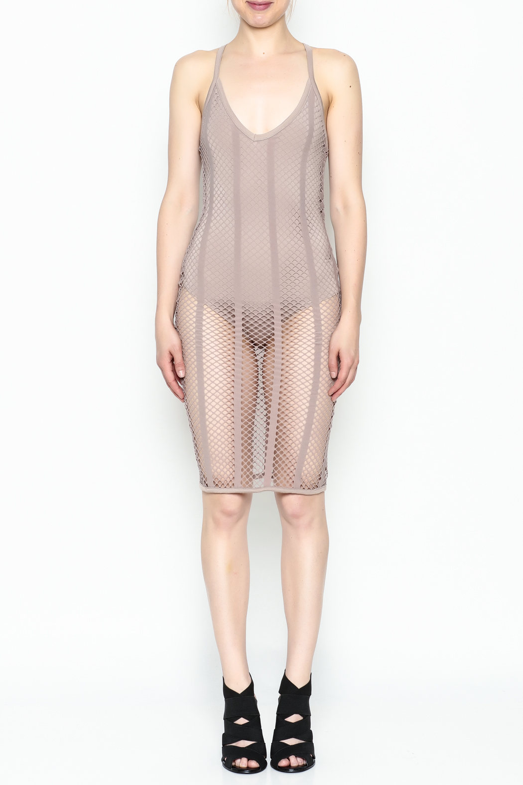 A Ellen Mesh Bodysuit Dress - Front Full Image