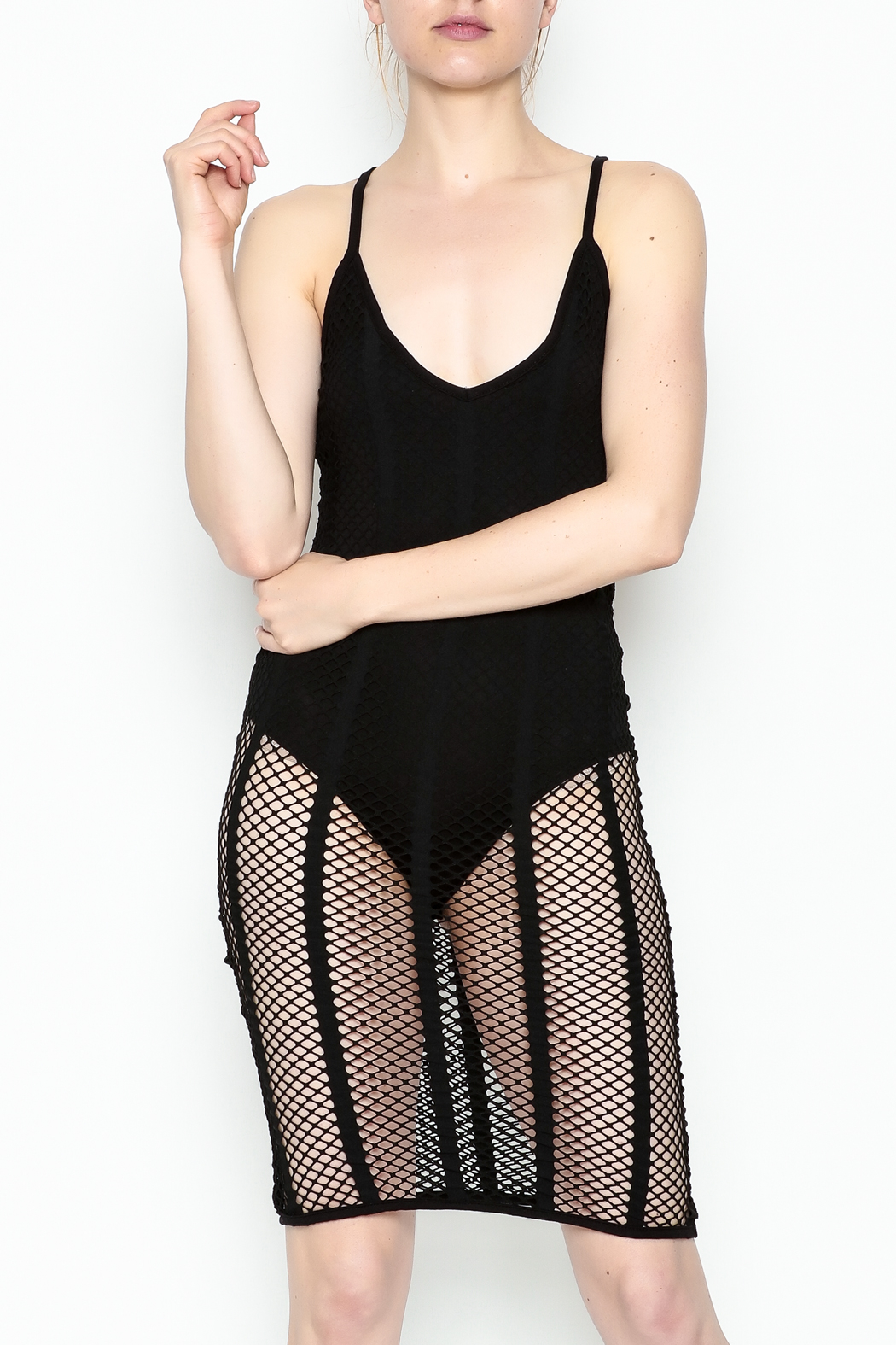A Ellen Mesh Bodysuit Dress - Main Image