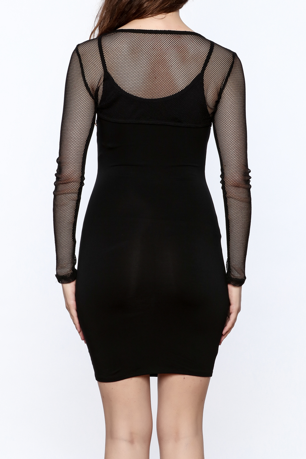 A Ellen Sexy Black Bodycon Dress - Back Cropped Image