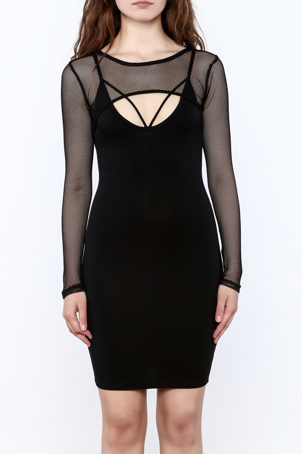 A Ellen Sexy Black Bodycon Dress - Side Cropped Image