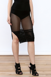A Ellen Black Mesh Knee Skirt - Product Mini Image