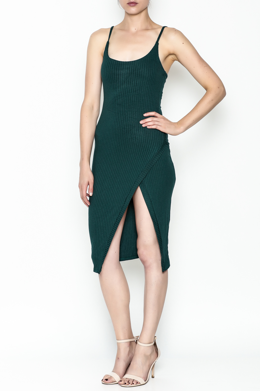 A Ellen Ribbed Midi Dress - Front Cropped Image