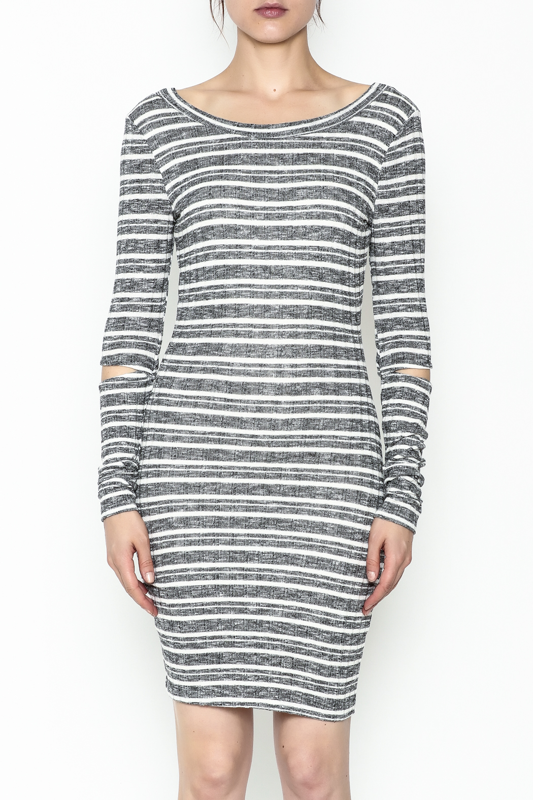 A Ellen Stripe Sweater Dress - Front Full Image