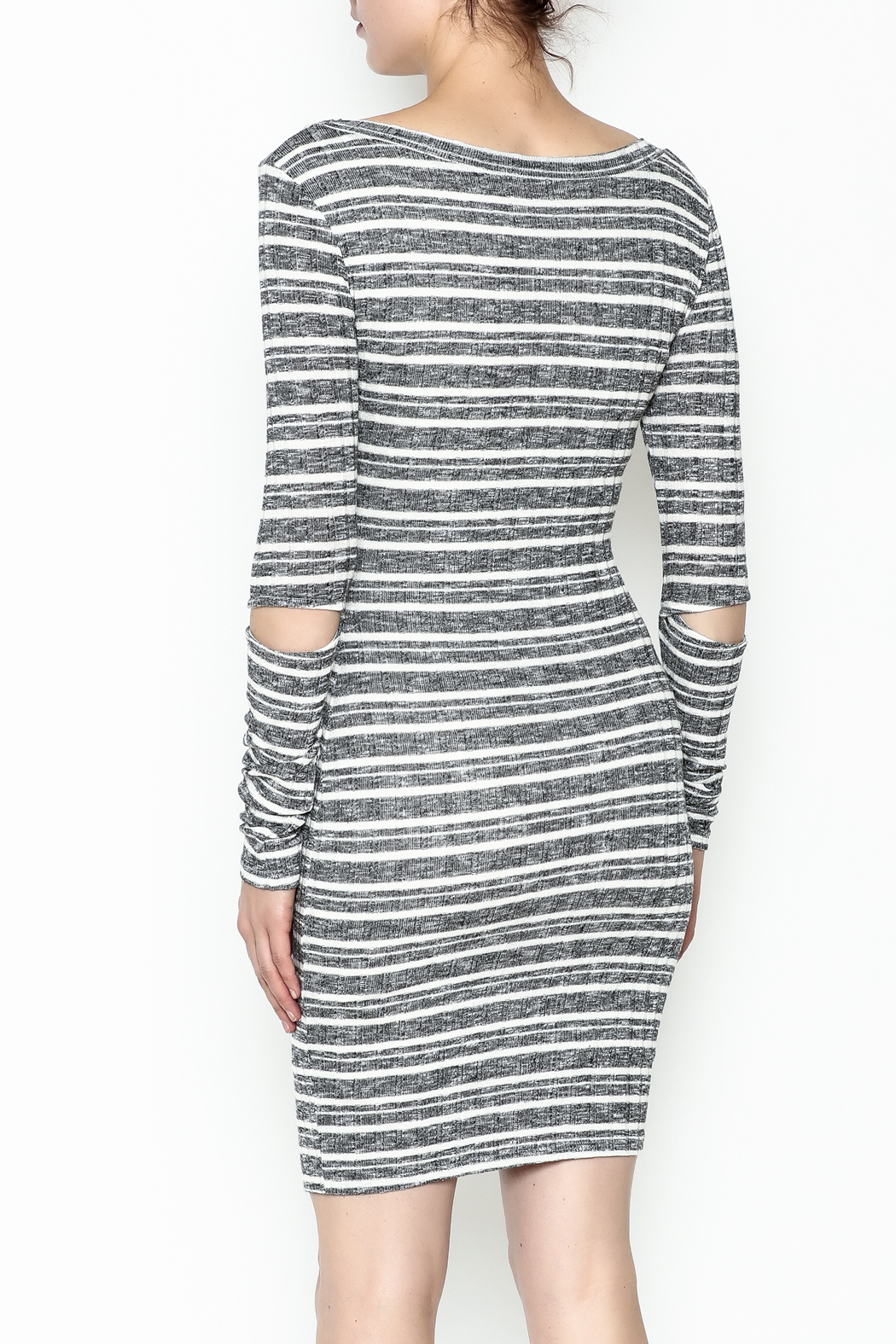 A Ellen Stripe Sweater Dress - Back Cropped Image
