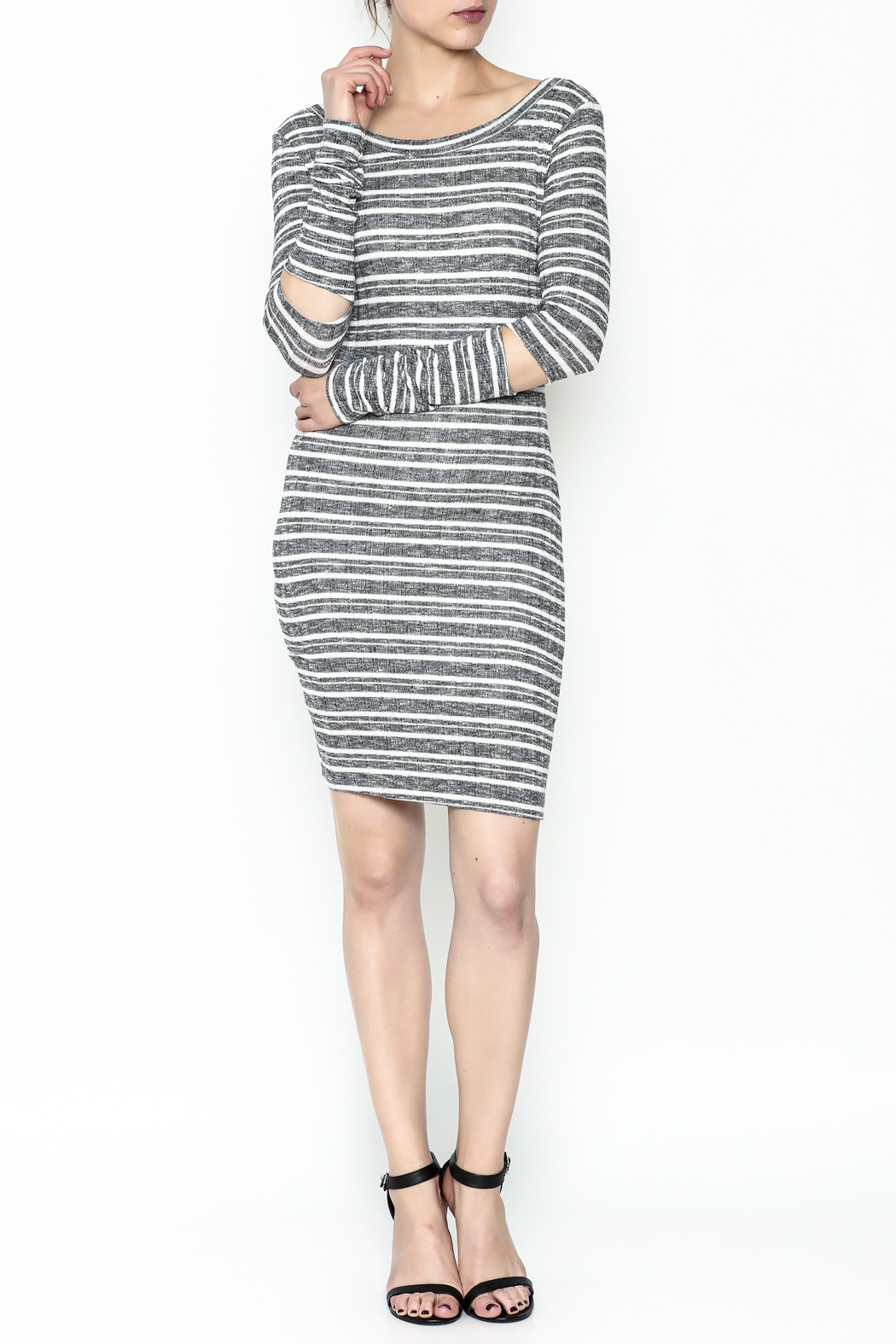 A Ellen Stripe Sweater Dress - Side Cropped Image