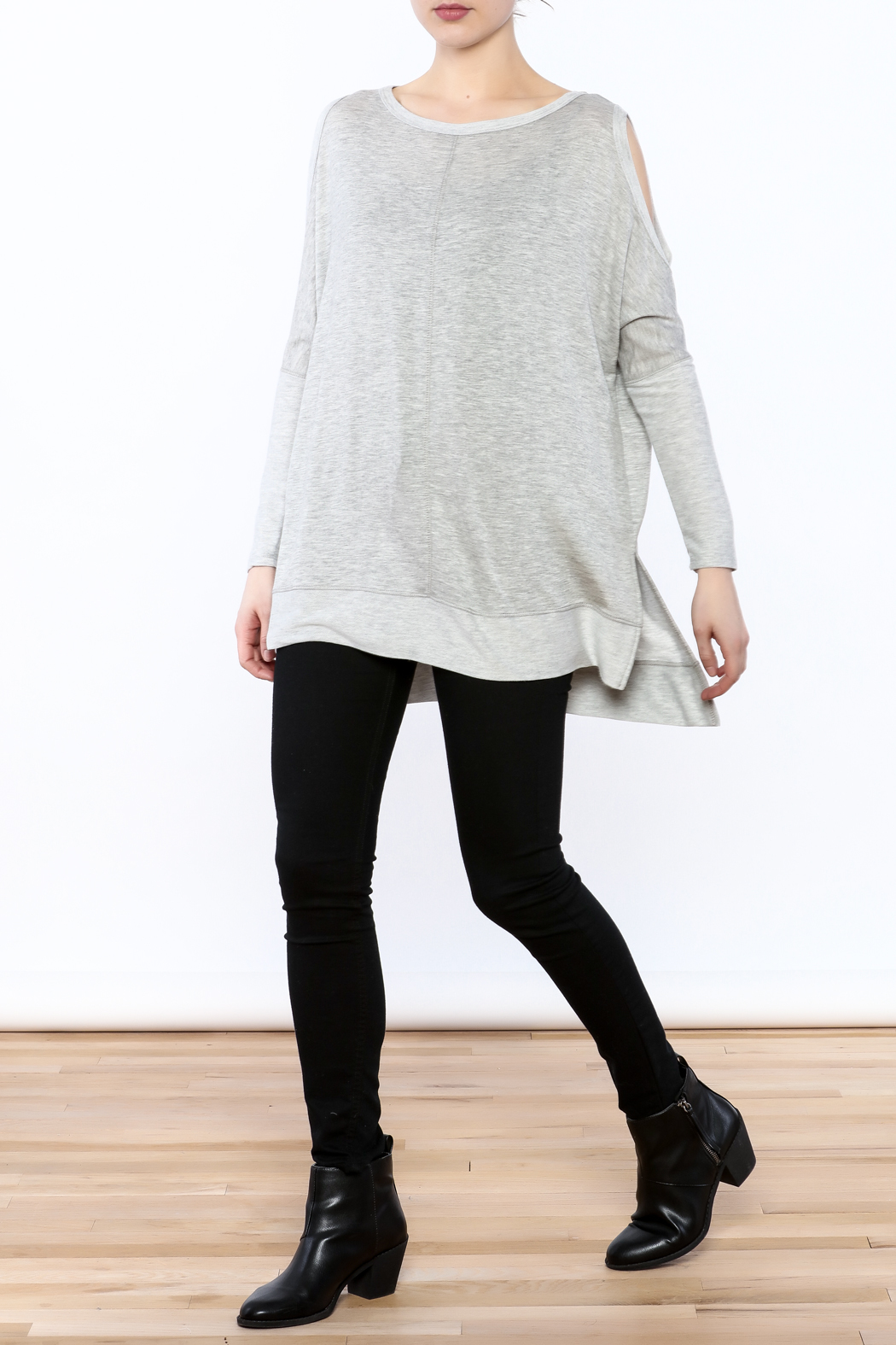a.gain Grey Tunic Top - Front Full Image