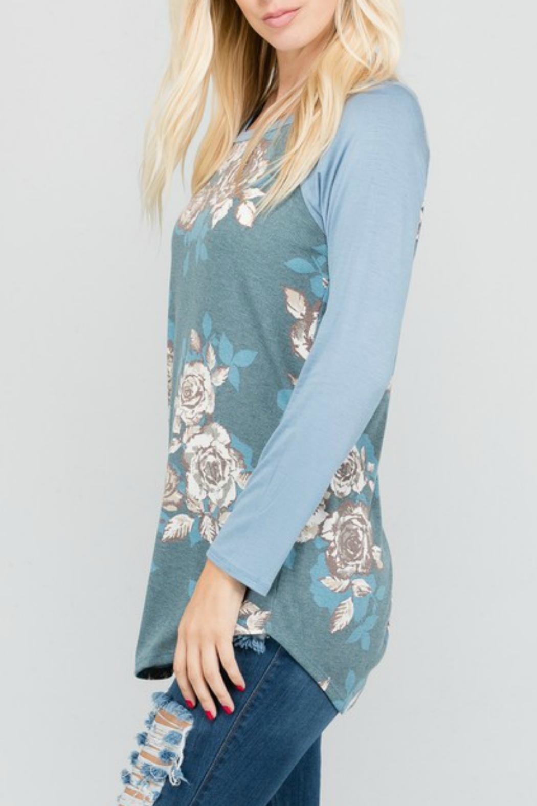 a.gain Floral Knit Baseball-Tee - Front Full Image