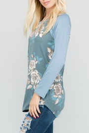 a.gain Floral Knit Baseball-Tee - Front full body