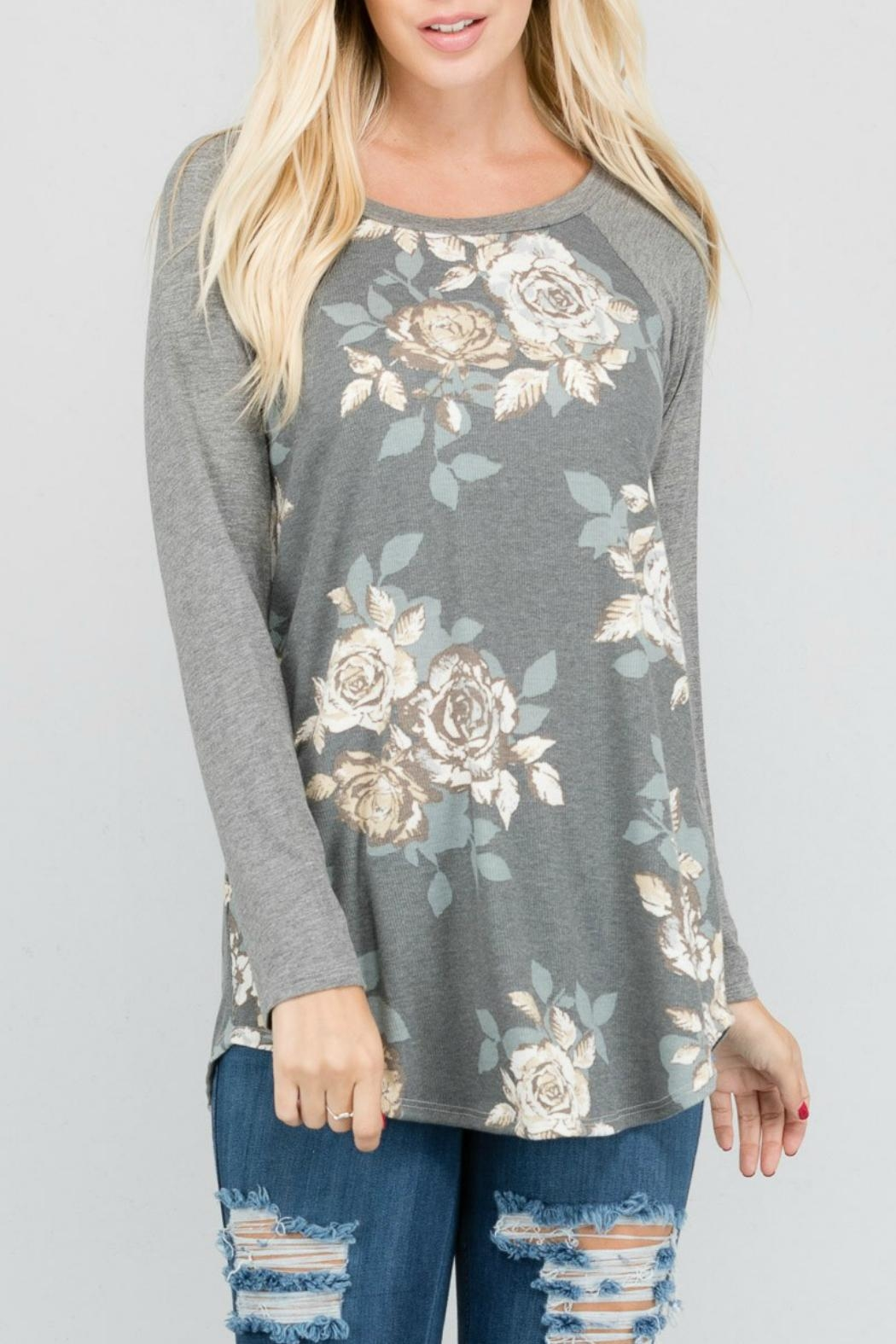 a.gain Floral Knit Baseball-Tee - Front Cropped Image