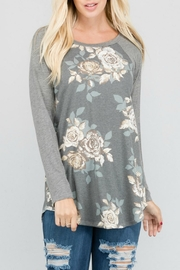 a.gain Floral Knit Baseball-Tee - Front cropped
