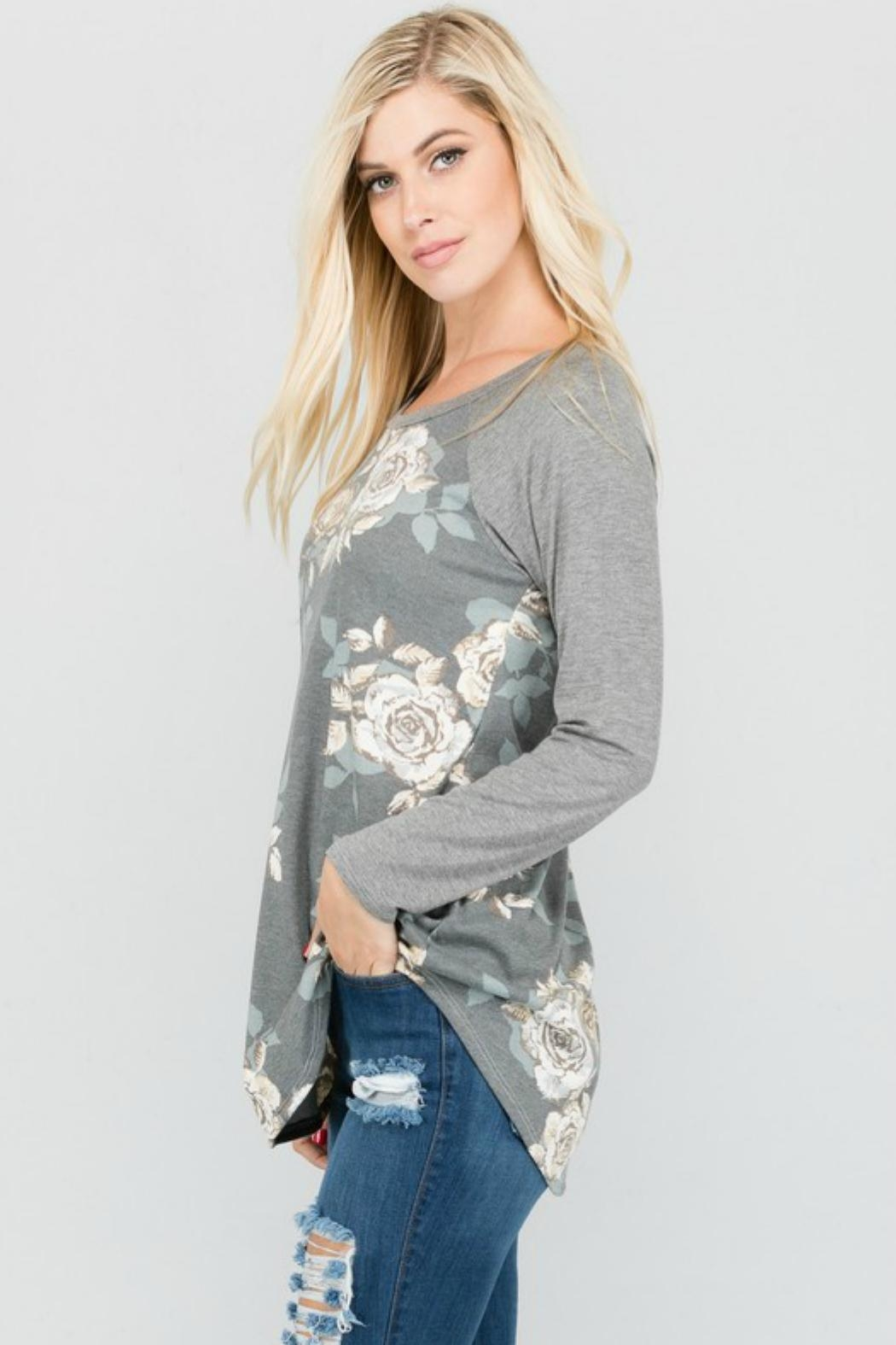 a.gain Floral Knit Baseball-Tee - Side Cropped Image