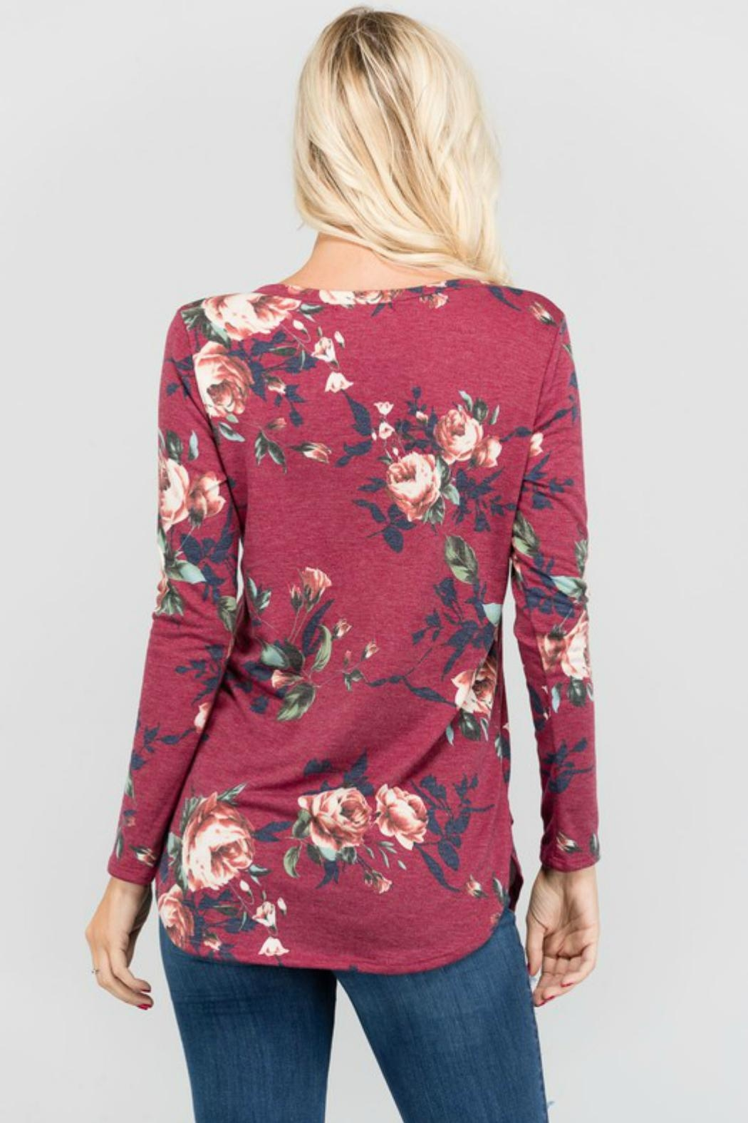 a.gain Floral V-Neck Top - Side Cropped Image