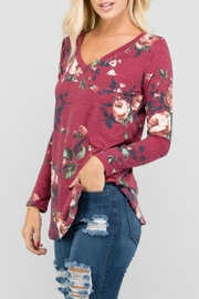 a.gain Floral V-Neck Top - Front full body