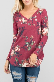 a.gain Floral V-Neck Top - Front cropped