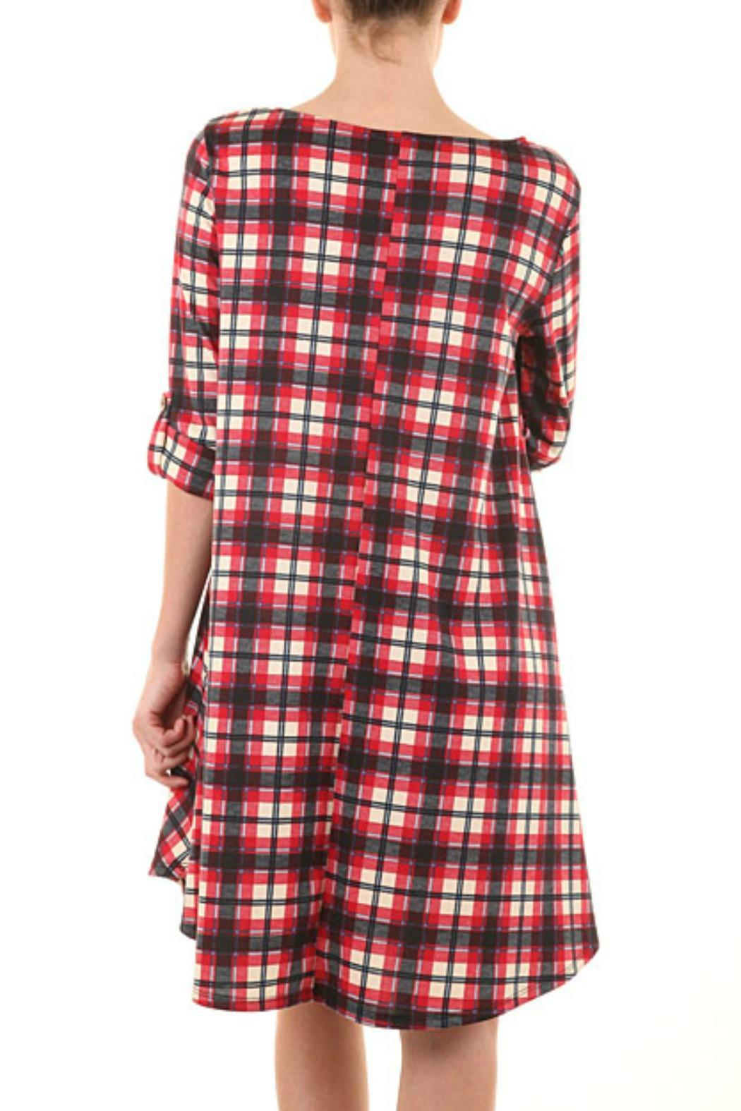 a.gain Red Plaid Dress - Front Cropped Image