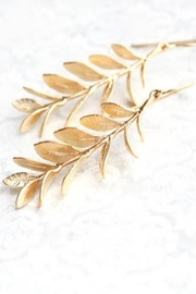 The Birds Nest A Leafy Gold Branch Earrings -Matte Gold - Front cropped