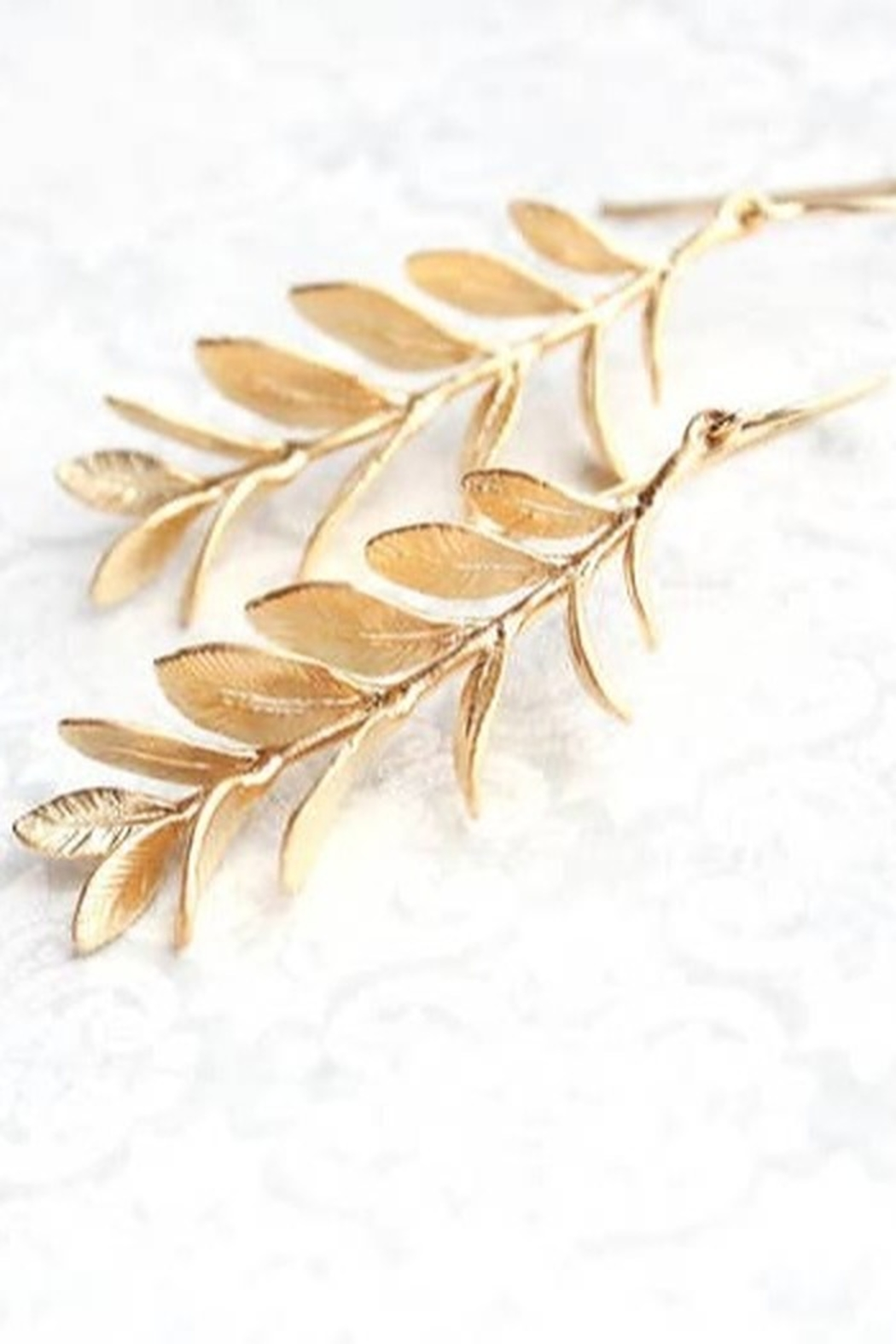 The Birds Nest A Leafy Gold Branch Earrings -Matte Gold - Main Image