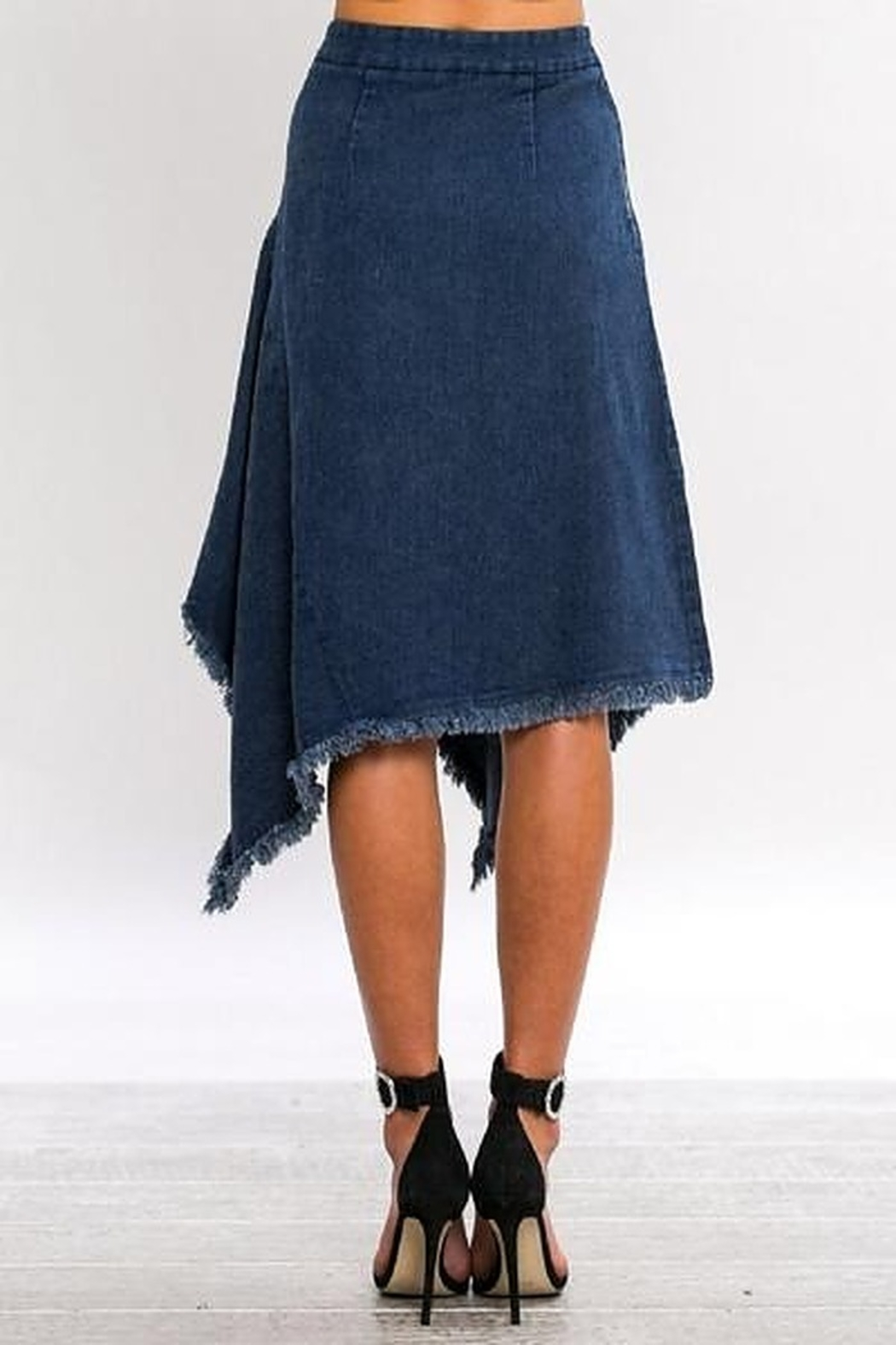 Jealous Tomato A-Line Asymmetrical Denim Skirt - Side Cropped Image