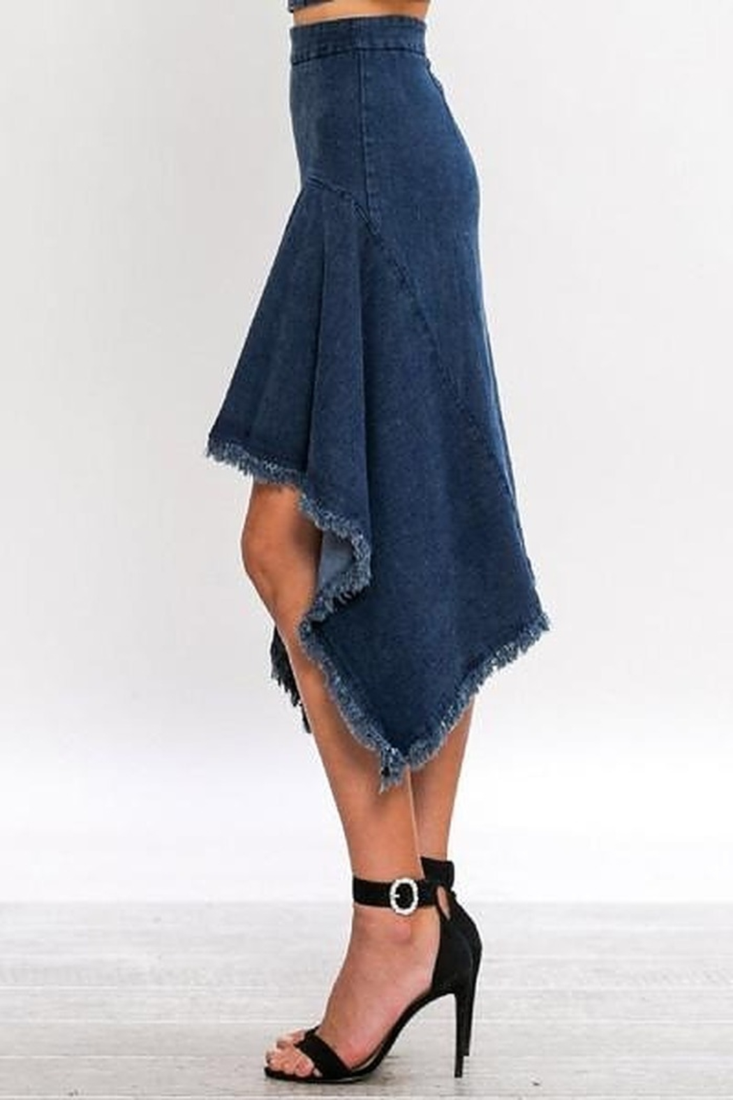 Jealous Tomato A-Line Asymmetrical Denim Skirt - Front Full Image