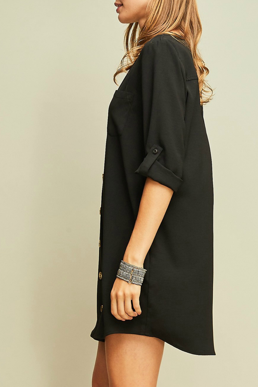 Entro A-line button up dress - Front Full Image