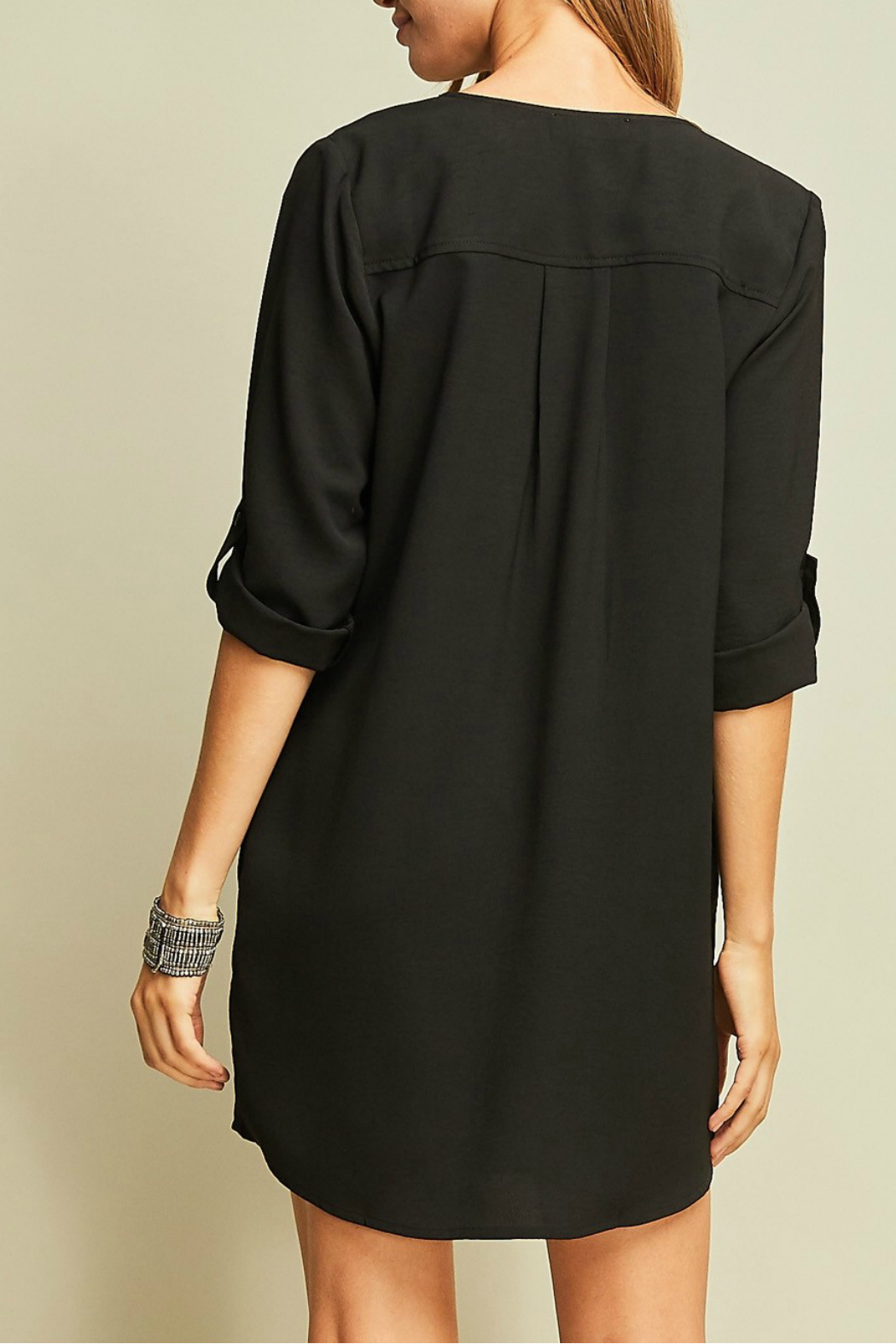 Entro A-line button up dress - Side Cropped Image