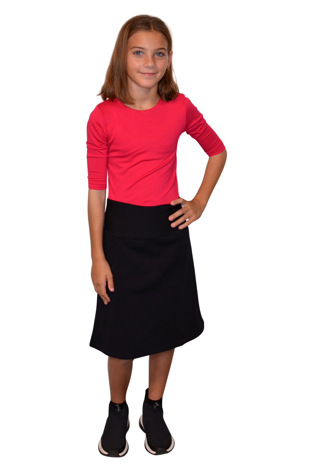 Kosher Casual A-line Cotton Lycra Knee Length Skirt for Girls - Front Cropped Image