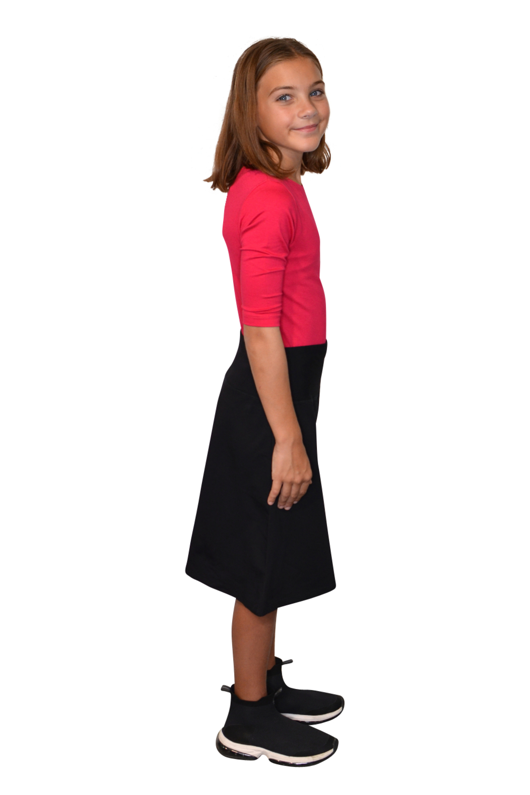 Kosher Casual A-line Cotton Lycra Knee Length Skirt for Girls - Side Cropped Image