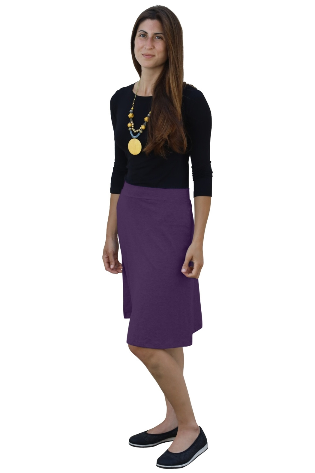 Kosher Casual A-line Cotton Lycra Knee Length Skirt for Women - Front Cropped Image