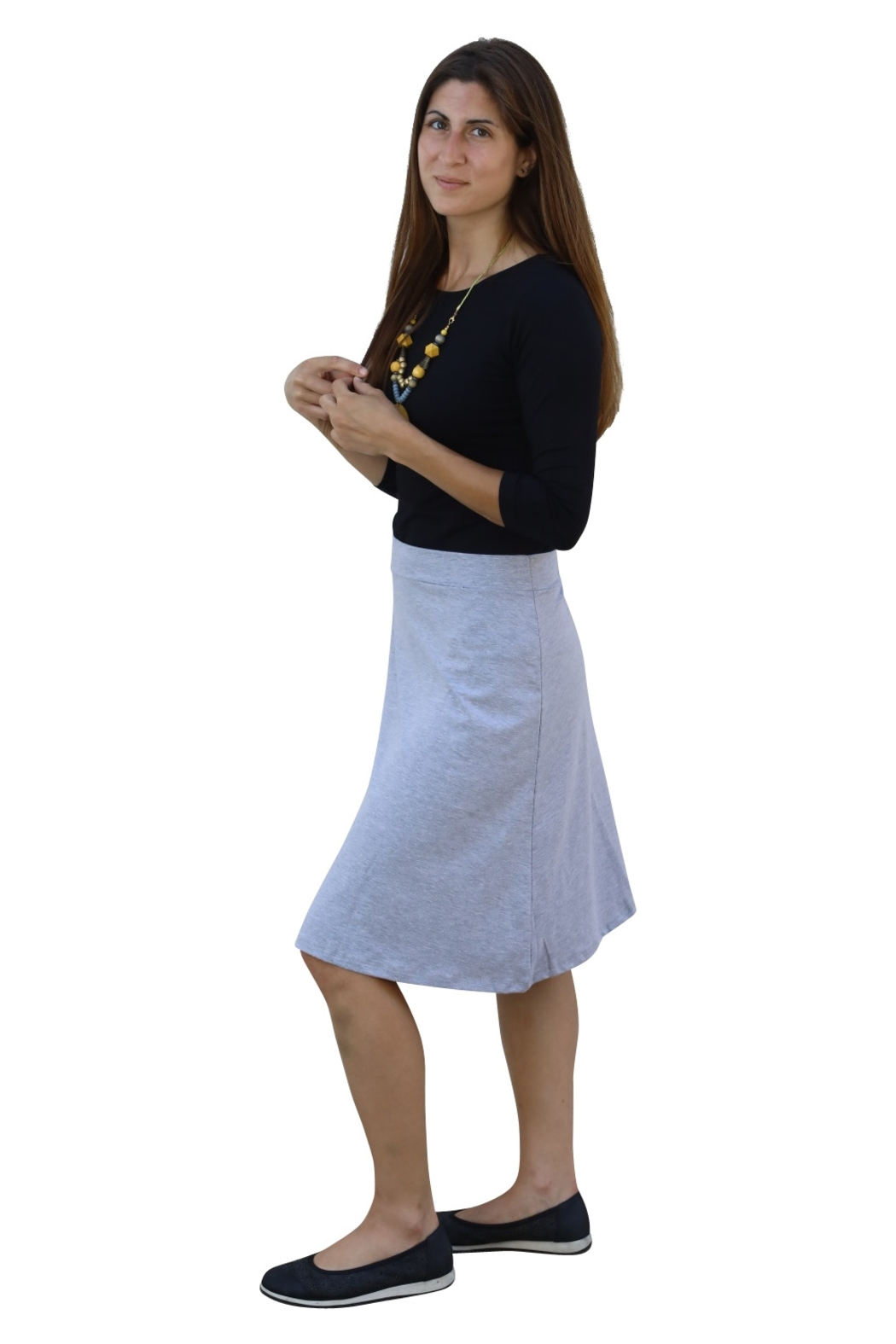 Kosher Casual A-line Cotton Lycra Knee Length Skirt for Women - Side Cropped Image