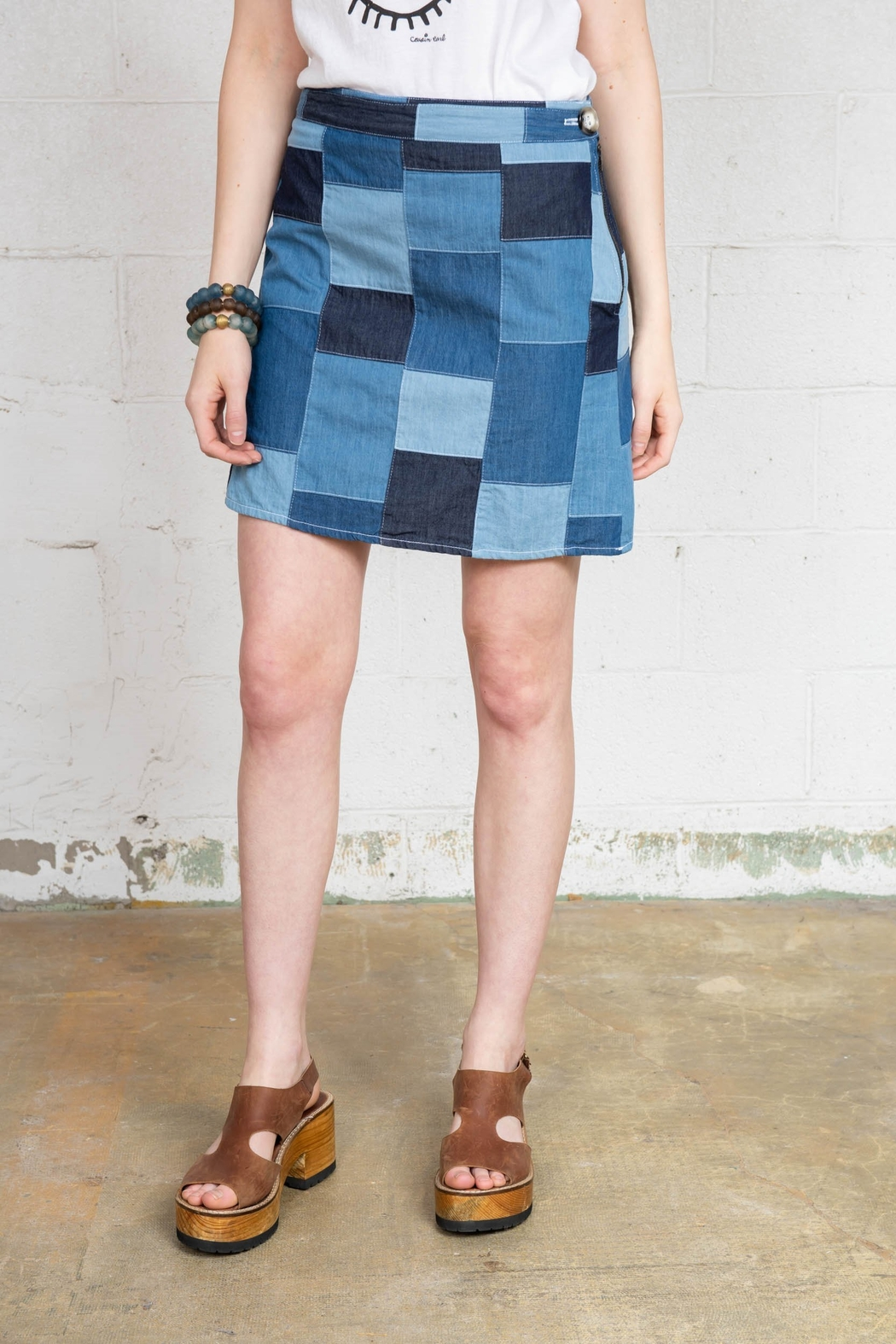 Ivy & Blu A-Line Denim Patchwork Skirt - Main Image
