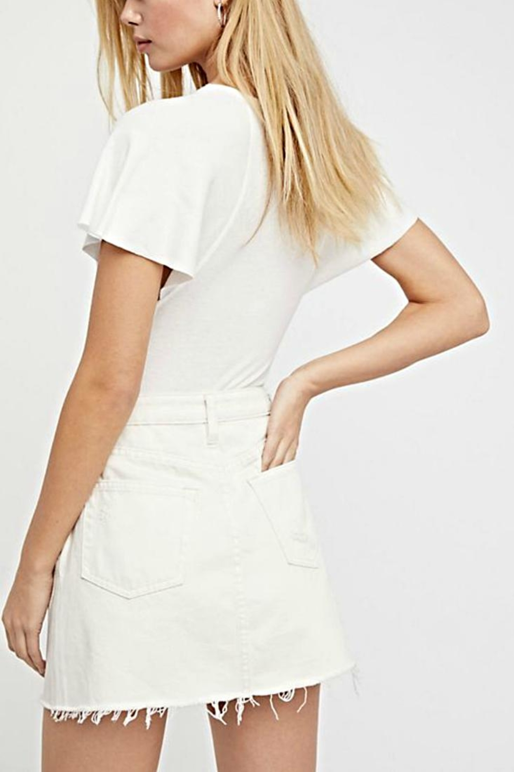 Free People A-Line Denim Skirt - Front Full Image