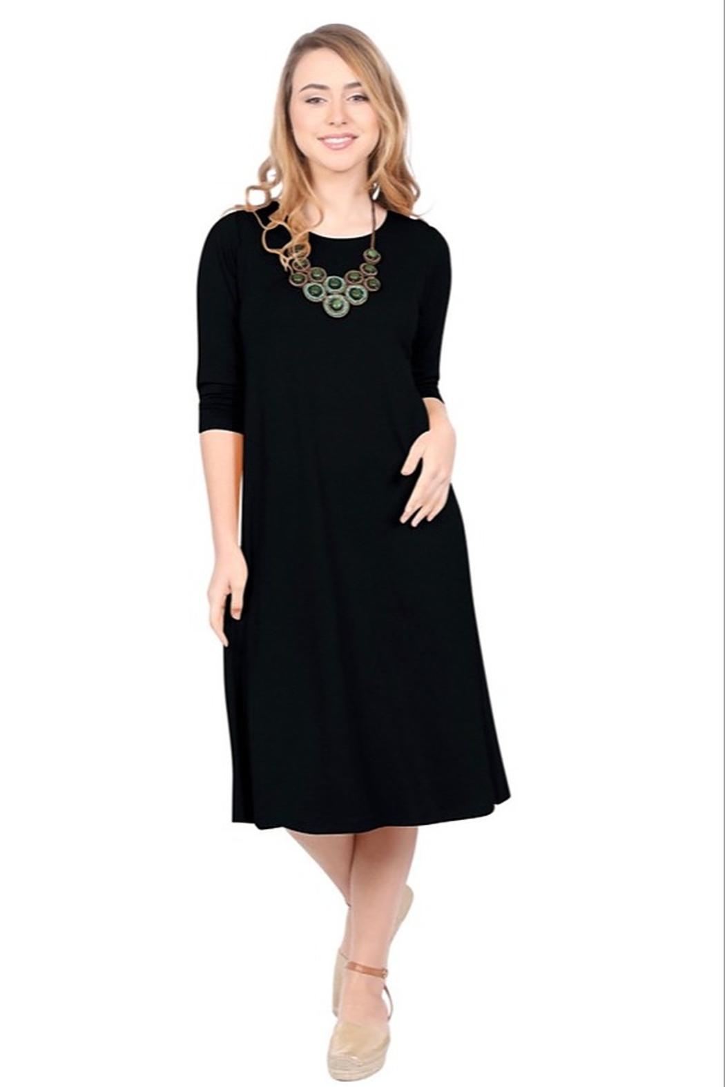 Kosher Casual A-line dress past the knee #1644 - Front Cropped Image