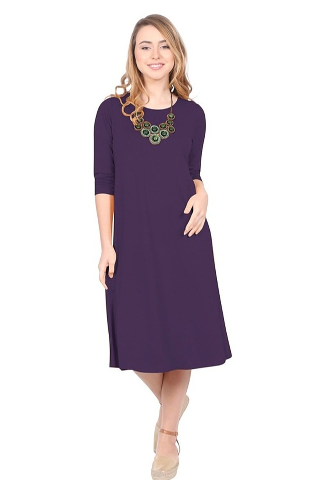 Kosher Casual A-line dress past the knee #1644 - Main Image