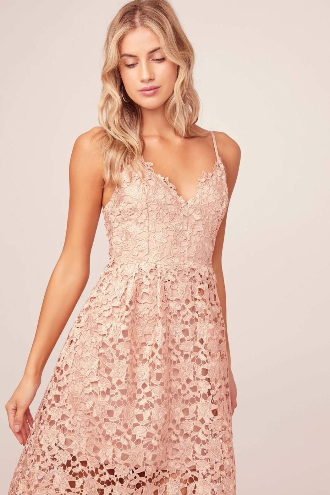 ASTR A Line Lace Midi Dress - Front Full Image
