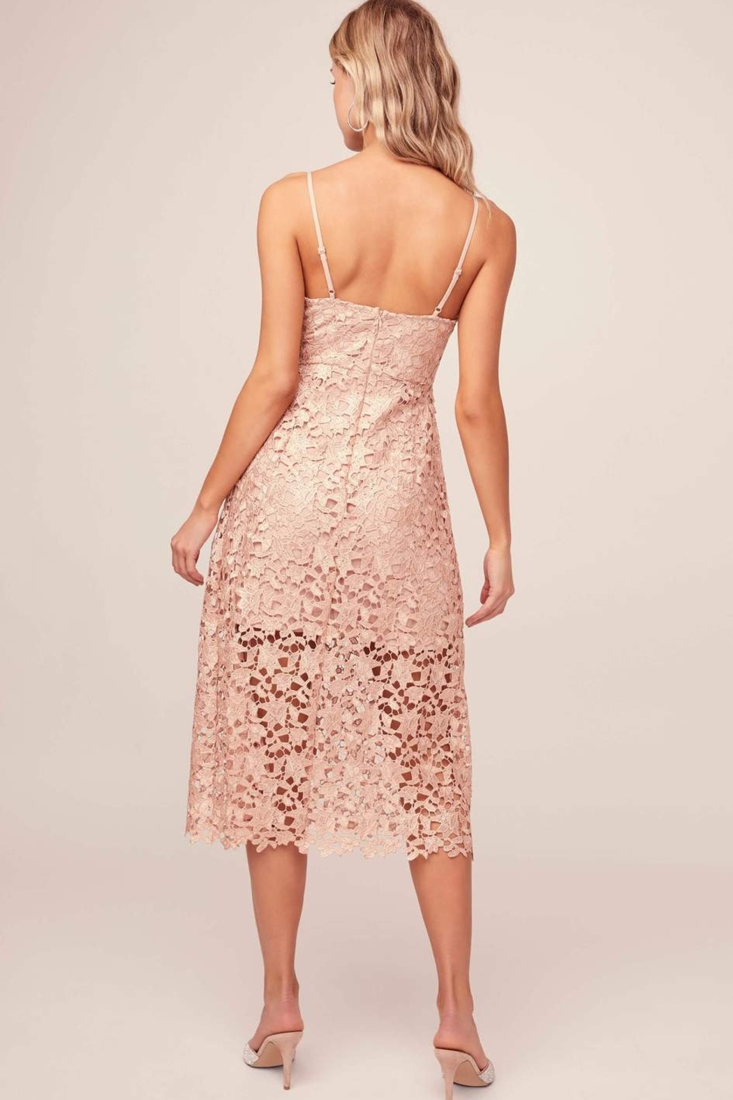 ASTR A Line Lace Midi Dress - Side Cropped Image