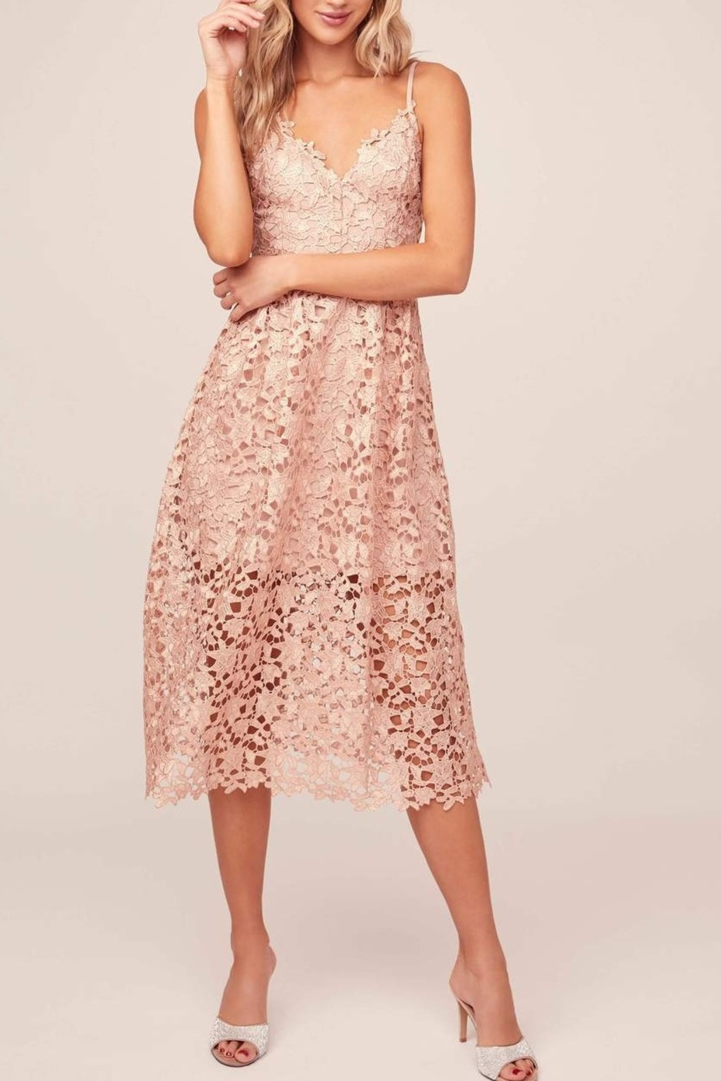 ASTR A Line Lace Midi Dress - Front Cropped Image