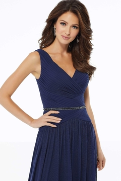 MGNY A-line Mesh Evening Gown, Navy - Alternate List Image