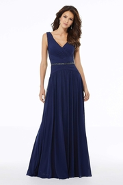 MGNY A-line Mesh Evening Gown, Navy - Product Mini Image