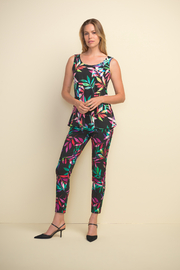 Joseph Ribkoff  Multi-colored A-line tank, v-neck. Sleeveless. - Side cropped