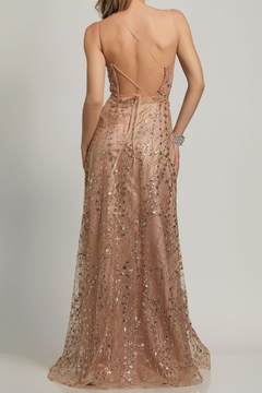 Dave and Johnny A-Line Sheer Tie Back Gown - Alternate List Image
