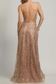 Dave and Johnny A-Line Sheer Tie Back Gown - Front full body
