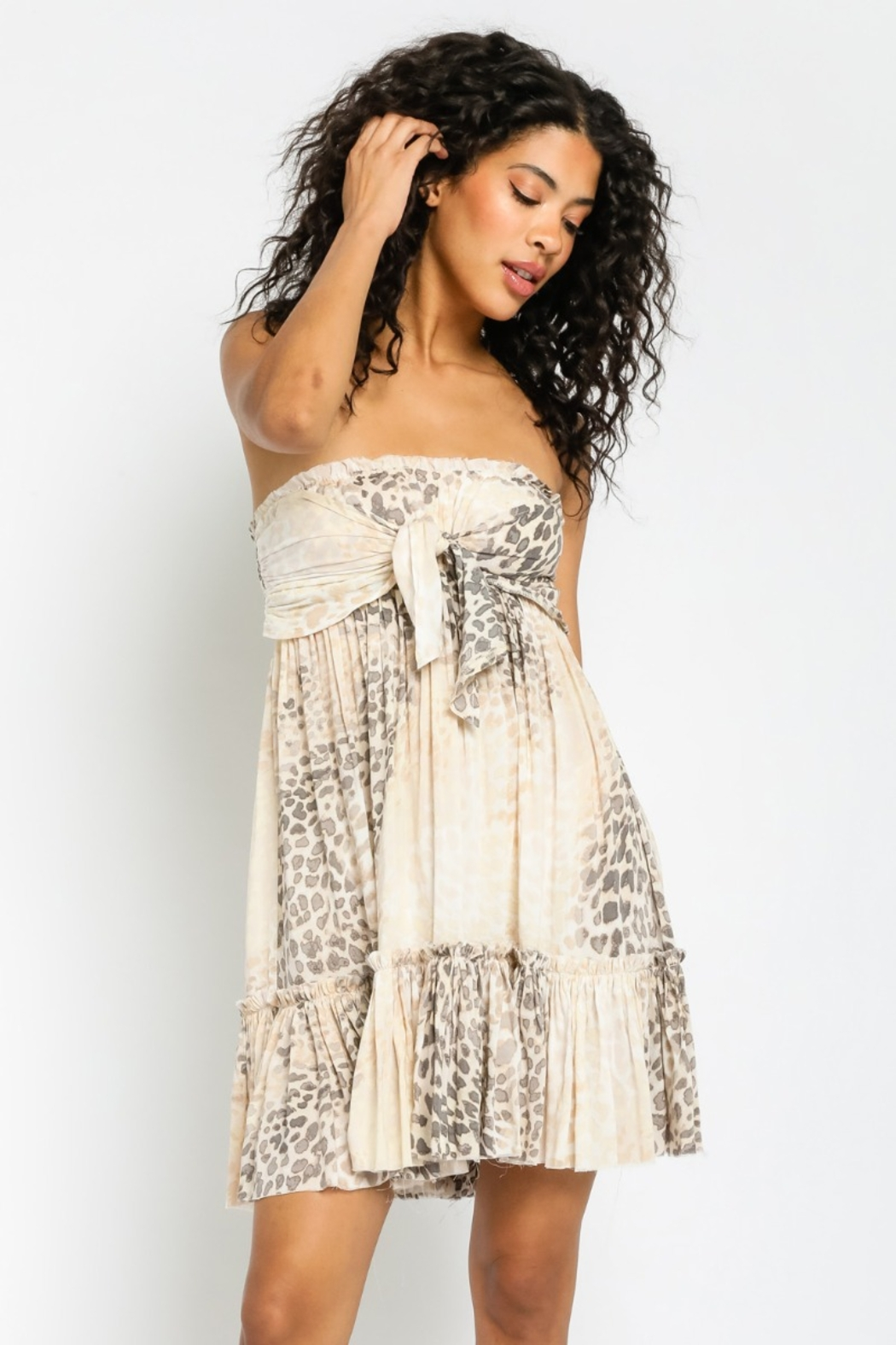 Olivaceous  A Natural Beauty soft Animal Print Summer Dress - Back Cropped Image