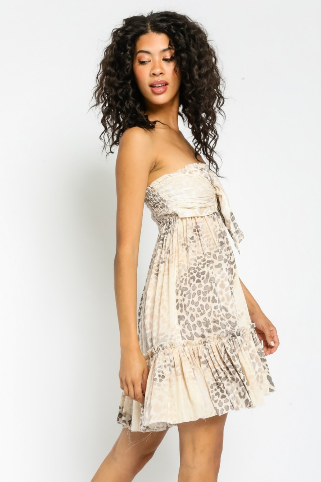 Olivaceous  A Natural Beauty soft Animal Print Summer Dress - Front Full Image