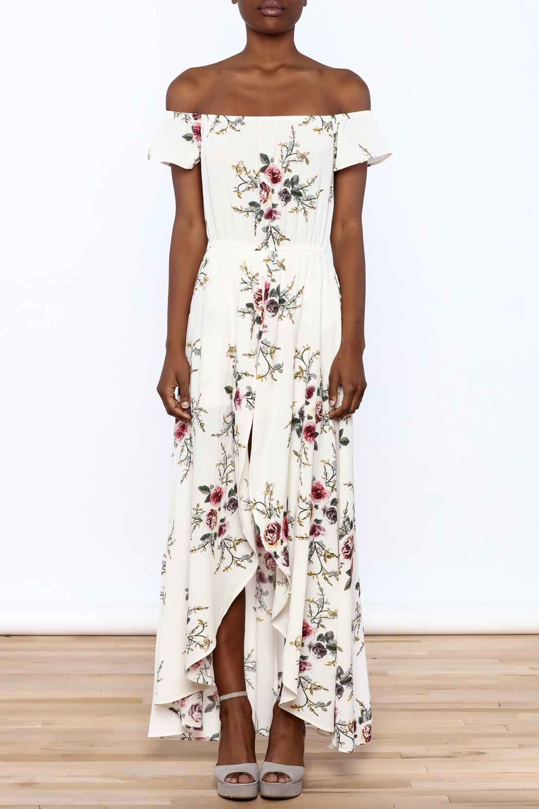 A Peach Floral Maxi Romper - Front Cropped Image