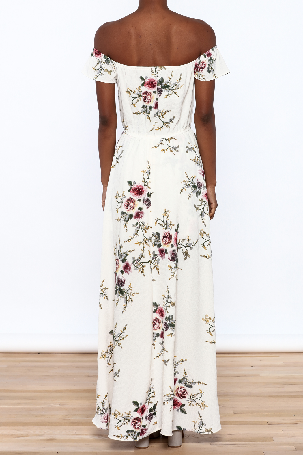 A Peach Floral Maxi Romper - Back Cropped Image
